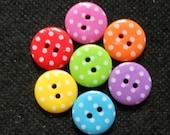 30 pcs - Cute Retro Polka Dot Buttons 2 hole size 15 mm mix rainbow color