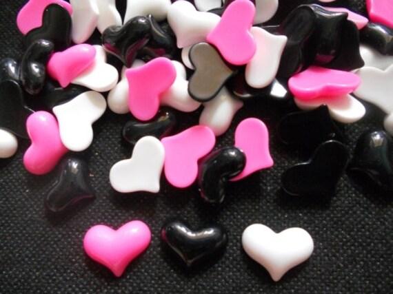 20 pcs -  Cute Heart Cabochon flatback - size 12 x 20  PINK WHITE Black