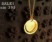 S A L E - Gold Plated Necklace With a Hoop Pendant