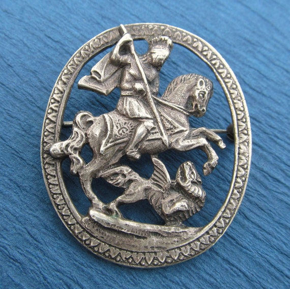 Saint George And The Dragon Vintage Religious Brooch 800 Silver by U Bellini Florence  SS312