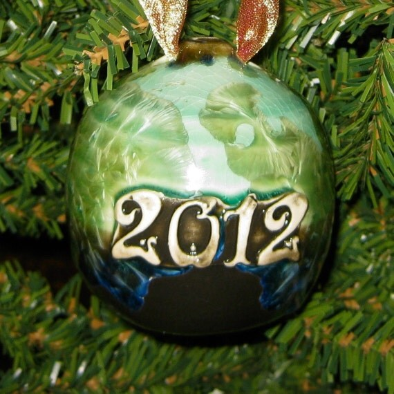 Handmade Wheel Thrown 2012 Year Stamped Green Gold Crystalline Glazed Porcelain Christmas Tree Ornament
