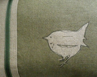 Hand printed and stitched little olive loomstate linen jenny  wren cushion