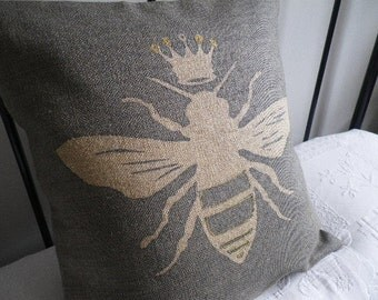 hand printed Queen bee cushion cover