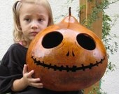 Halloween Gourd Jack O Lantern XX Large Natural Spooky Jack Skellington Pumpkin (inspired by Tim Burton)