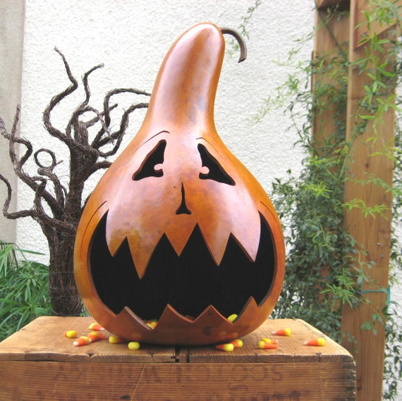 Halloween Gourd Jack O Lantern XX Large Natural Spooky Fall Harvest Candy Bowl Trick or Treat Decoration