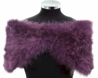 HOLLYWOOD NOSTALGIC GLAMOUR - Amethyst  Marabou Feather Stole Wrap Shrug Cape- Plus sizes available
