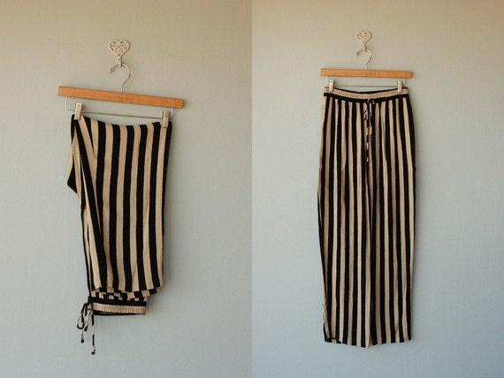 striped pants / palazzo pants / rayon summer pants / high waisted pants / wide leg pants - size small , medium
