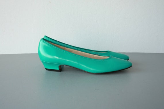 1980s flats / teal green flats / leather flats / turquoise flats - size 9 narrow , 40