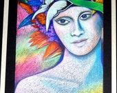 Art Pastel Painting, Portrait Framed Original