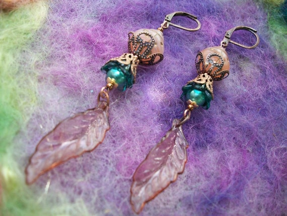 Pastel Garden Ladybug Earrings Glass and Lucite