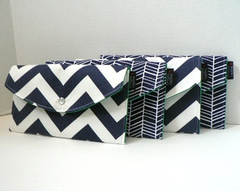 Set Of 4 - Navy Chevron and Herringbone Collection - Bridesmaid Clutches