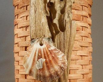 Nautical Utensil Basket with Driftwood and Shells Driftwood Art