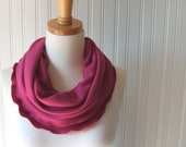 Sugared Berries Infinity Scarf - Berry Ruffled Jersey Fall and Winter Fashion