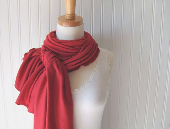 Red Rose Jersey Scarf Ruffled Fall and Winter Fashion