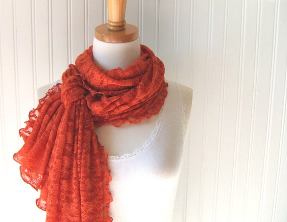LAST ONE.....Pumpkin Spice Ultra Soft Lace Ruffled Scarf - Extra Long Fall, Autumn, Halloween Fashion  Burnt Orange Lace