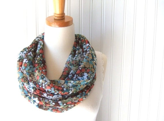 Autumn Floral Sheer Infinity Scarf in Brown, Honey Gold and Pumpkin Spice - Cowl Fall Fashion
