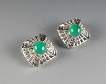 1950's Green Silver Tone Modernist Earrings