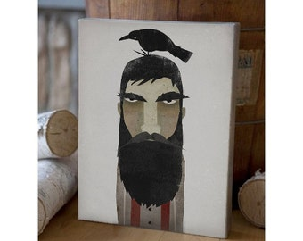 Lumberjack and Crow - Original Graphic Art Gallery Wrapped CANVAS signed