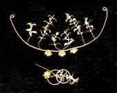 Art Noueau Tiara Corsage Antique Boutonniere Gold Wedding Garland Grecian Bridal Goddess Headdress Myrtle Leaves