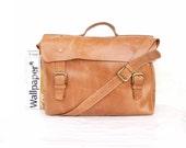 Bag Macbook  pro bag  Messenger bag Mens Women light  Brown Leather Brifcase Leather Handbag laptop bag Leather bag