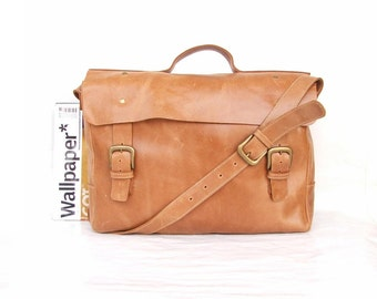 Bag Macbook  pro bag  Messenger bag Mens Women light  Brown Leather Brifcase Leather Handbag laptop bag Leather bag