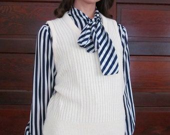 Vintage SIMPLE CREAM Ribbed Wool Sweater Vest M/L