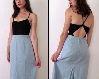 Vintage POWDER BLUE Woven Pencil Skirt M or M/L