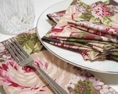 Roses and Hydrangea Dinner Napkins - set of 4