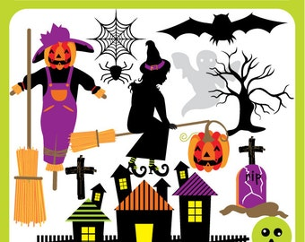 Halloween Trick or Treat - witch, bats, broom, ghost, vampire, spider web, withered tree, halloween - Personal and Commercial Use Clip Art