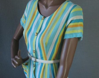 50s 60s Day Dress Vintage Summer House Wife Stripes Medium to Large Full Skirt