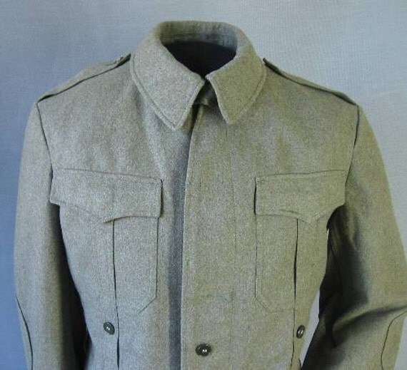60s German Military Shirt Vintage Jacket 1960s Wool Olive Drab M L