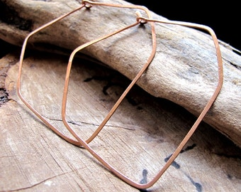 Artisan Hoop Earrings - Diamond Shaped Hoops - XL Geometric Earrings - Copper Hammered Modern Hoops