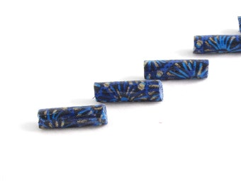 Handmade Blue Fabric Beads Fiber Bugle Textile Beads Big Hole Large Hole Lightweight Long Jewelry Supplies Navy Blue with Gold Detailing