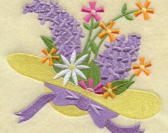 FASHION FLOWER HAT - Machine Embroidered Quilt Block (AzEB)