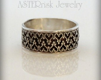 Ring - Sterling Silver Ring Band Lacey Wedding