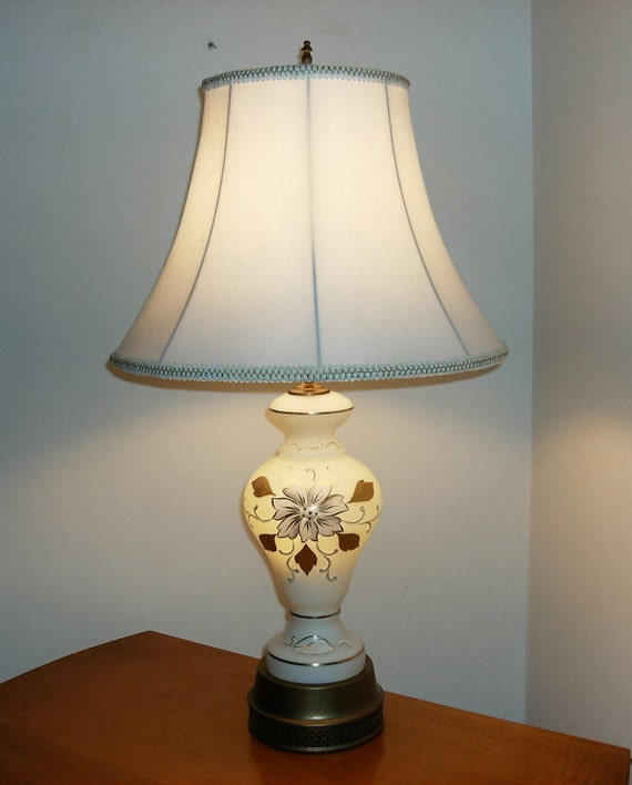 vintage frosted glass table lamp with night light by. Black Bedroom Furniture Sets. Home Design Ideas