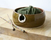 The sun and moon hand thrown pottery yarn bowl - glazed in toffee brown