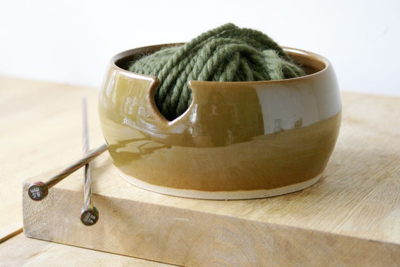 The love heart yarn bowl hand thrown stoneware bowl - glazed in copper penny