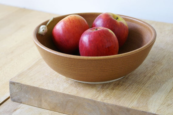 Natural brown ceramic fruit bowl with tiny hand carved mouse - wheel thrown stoneware pottery