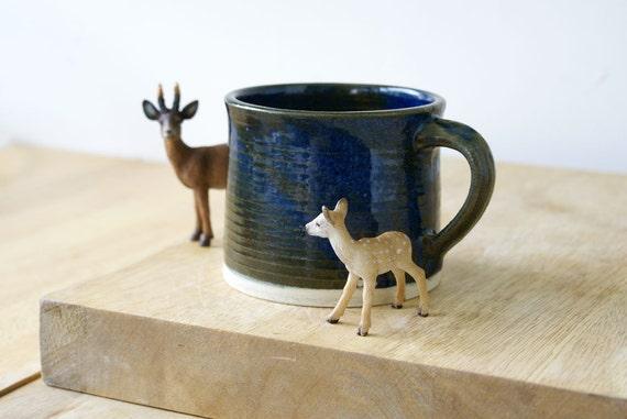 One handmade tea mug - stoneware pottery mug glazed in midnight blue
