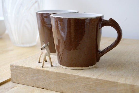 Two spicy chai latte mugs - stoneware pottery mugs glazed in milk chocolate
