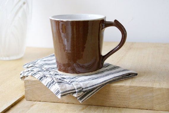 Single spicy chai latte mug - stoneware pottery mugs glazed in milk chocolate