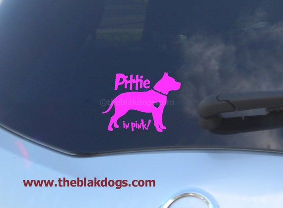 Pittie in Pink - Vinyl Sticker Car Decal