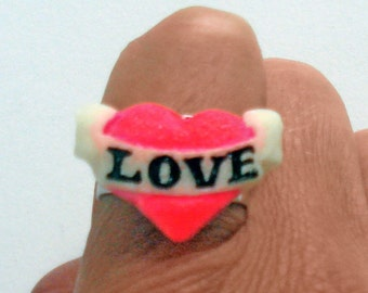 Glow in the dark and UV glow LOVE heart ring