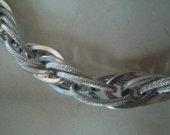 Vintage Silvertone Multilink chunky metal choker necklace marked  W Germany