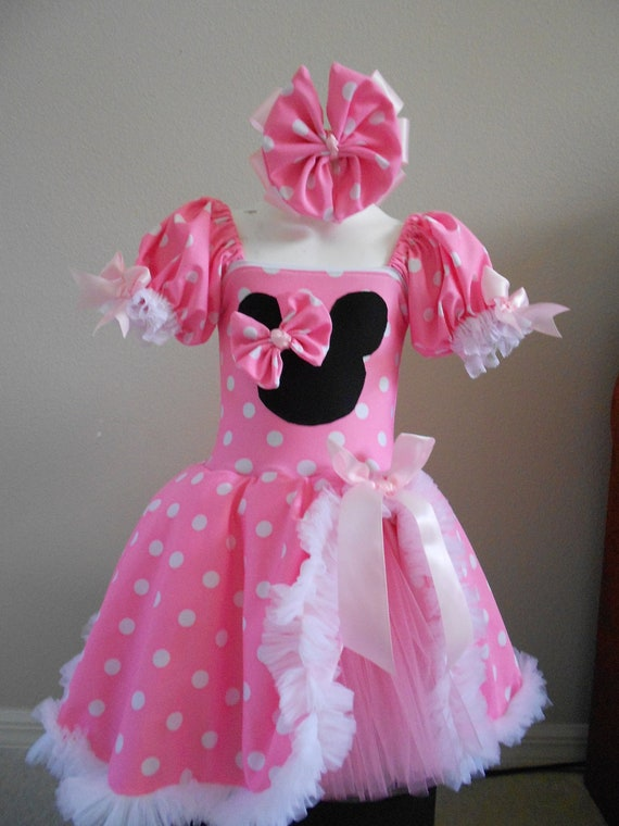 Minnie Mouse inspired costume Pink tutu dress size 18 month Halloween Costume Custom boutique