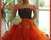 Custom Boutique Super Full ORANGE and BLACK Chiffon Tutu PETTISKIRT in Girl Size, Choose Your Own Color