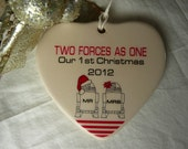 Two Forces As One - R2D2 Mr & Mrs  Our 1st  Christmas Porcelain Heart Ornament