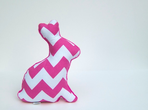 Chevron Bunny Plush Stuffed Minky Easter Bunny Baby Toy Pink Fuchsia White