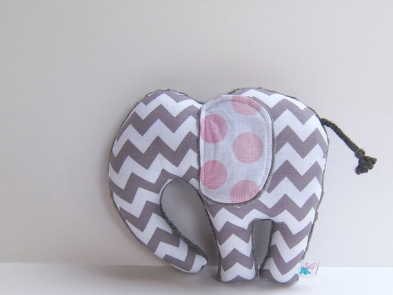 Elephant Softie Plush Stuffed Animal Minky Baby Toy Gray Chevron Pink